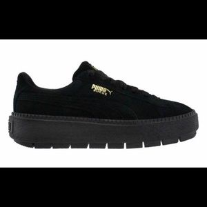 Puma black suede platform sneakers